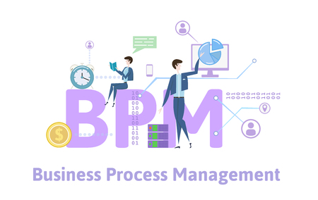 BPM, Business process management. Concept with keywords, letters and icons. Colored flat vector illustration on white background. Illustration