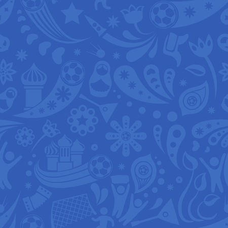 Russia and football cup grey and blue seamless pattern. Football background with modern and traditional Russian elements. Vector illustration.