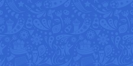 Russia and football cup grey and blue seamless pattern. Football background with modern and traditional Russian elements. Vector illustration. Horizontal.