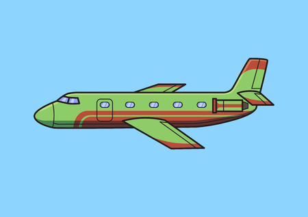 Green business jet aircraft, airplane. Flat vector illustration. Isolated on blue background. Stock Illustratie