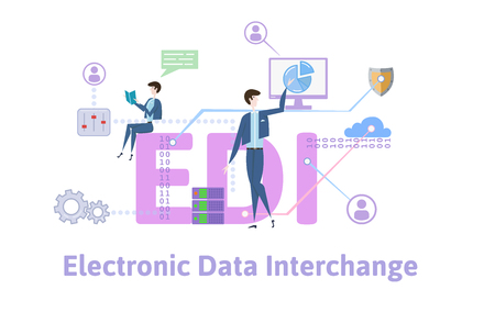 EDI, Electronic Data Interchange. Concept with keywords, letters and icons. Colored flat vector illustration on white background. 向量圖像