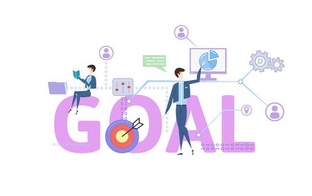 GOAL. Concept with keywords, letters and icons. Colored flat vector illustration on white background.