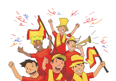 National football team supporters cheering for the players. Illustration