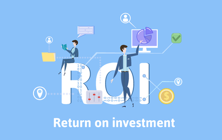 ROI, Return On Investment. Concept with keywords, letters and icons. Colored flat vector illustration on blue background.