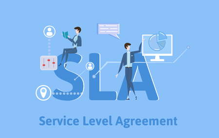 SLA, Service Level Agreement. Concept with keywords, letters and icons. Colored flat vector illustration on blue background. Illustration