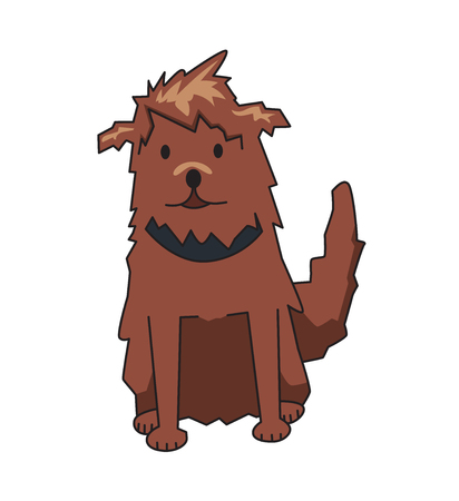 Shaggy cur pet with collar, front view. Funny smiling shaggy dog cartoon character. Flat vector illustration. Isolated on white background.