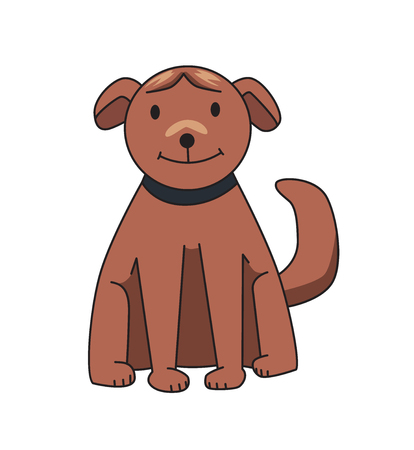 Brown dog sitting, front view. Funny smiling dog cartoon character. Flat vector illustration. Isolated on white background.