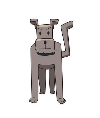 Gray terrier dog standing. Funny smiling dog cartoon character. Flat vector illustration. Isolated on white background. Illustration