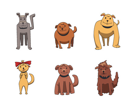 Set of funny smiling dog cartoon characters. Dogs of different breeds. Flat vector illustration. Isolated on white background.
