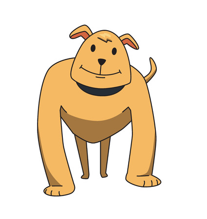 Strong watchdog standing, front view. Funny smiling dog cartoon character. Flat vector illustration. Isolated on white background.