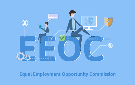 EEOC, Equal Employment Opportunity Commission. Concept with keywords, letters and icons. Colored flat vector illustration on blue background. Illusztráció