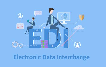 EDI, elektronische gegevensuitwisseling. Concept met trefwoorden, letters en pictogrammen. Gekleurde platte vectorillustratie op blauwe achtergrond.