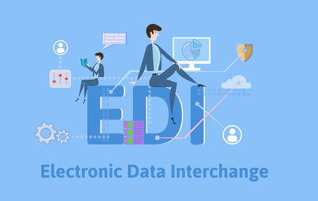 EDI, intercambio electrónico de datos. Concepto con palabras clave, letras e iconos. Ilustración de vector plano coloreado sobre fondo azul.