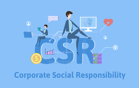 CSR, Corporate Social Responsibility. Concept with keywords, letters and icons. Colored flat vector illustration on blue background.