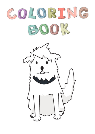 Shaggy cur pet with collar. Funny smiling shaggy dog cartoon character. Contour vector illustration for coloring book. Cartoon style. Isolated.