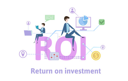 ROI, Return On Investment. Concept with keywords, letters and icons. Colored flat vector illustration on white background. Illustration