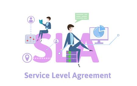 SLA, acuerdo de nivel de servicio. Concepto con palabras clave, letras e iconos. Ilustración de vector plano coloreado sobre fondo blanco. Ilustración de vector