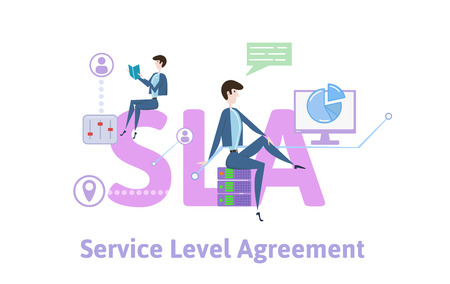 SLA, Service Level Agreement. Concept with keywords, letters and icons. Colored flat vector illustration on white background. Ilustracje wektorowe