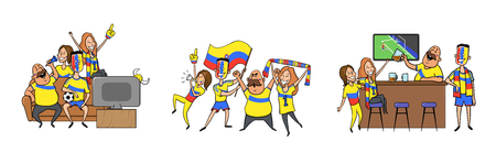 Colombian National football team supporters cheering at home, in the bar together. Set of football characters with national attributes. Colored flat vector illustration. Isolated on white background. Illustration