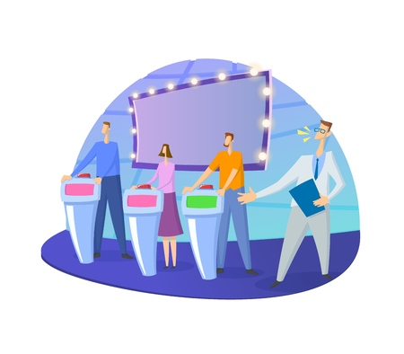 Quiz show TV-studio with host and contestants. Screen, stands and lights. Colorful flat vector illustration. Isolated on white background.