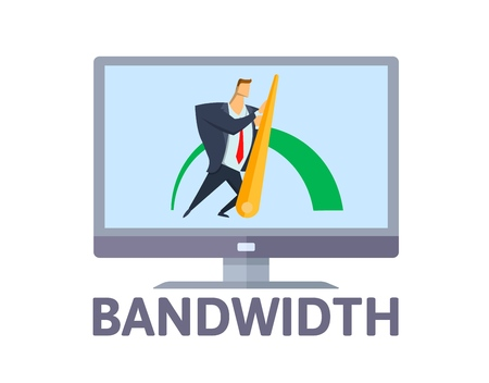 Bandwidth. Man pushing efficiency arrow on computer screen. Wideband internet connection concept. Flat vector illustration. Isolated on white background.