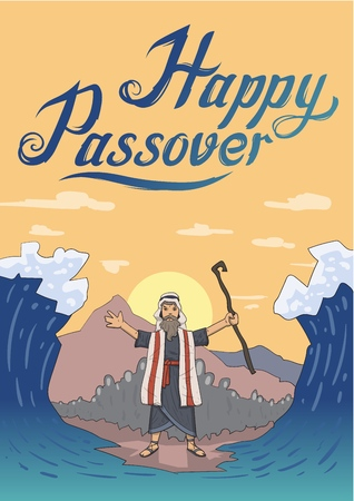 Moses separates sea for Passover holiday over mountain background. Exodus, Pesach. Card design with lettering. Flat vector illustration. Vertical.