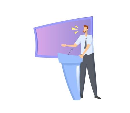 画面の前にスピアッカー。ロストラムの背後でスピーチをする男。カラフルなフラットベクトルイラスト。白い背景に隔離されています。