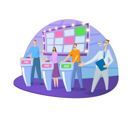 Quiz show TV-studio con conduttore e concorrenti. Schermo, supporti e luci. Illustrazione vettoriale piatto colorato. Isolato su sfondo bianco. Vettoriali