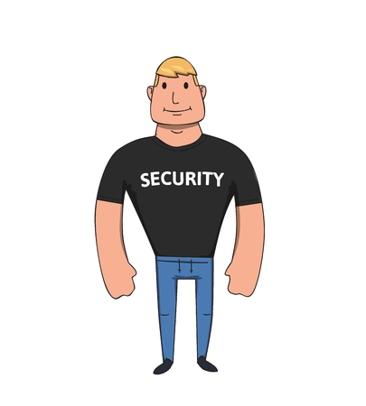 Security guy cartoon character. Flat vector illustration. Isolated on white background. Stock Illustratie