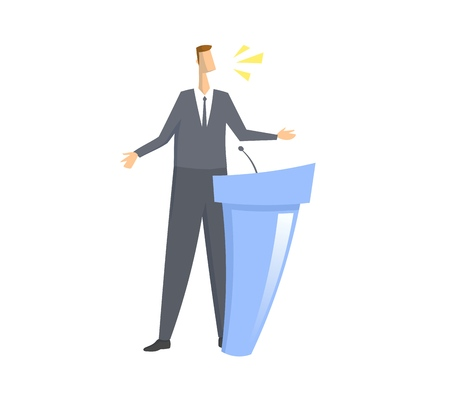 Speacker in front of microphone. Man giving speech behind the rostrum. Colorful flat vector illustration. Isolated on white background.