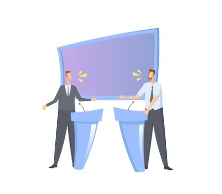 Dibattito pre-elettorale. Due candidati che hanno una discussione in studio con schermo e stand. Illustrazione vettoriale piatto colorato. Isolato su sfondo bianco.
