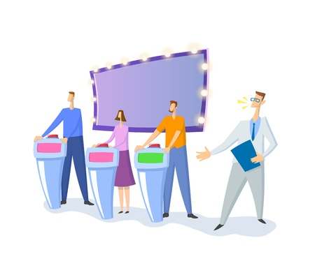 Quiz show TV-studio with host and contestants. Screen, stands and lights. Colorful flat vector illustration. Isolated on white background. Ilustracje wektorowe