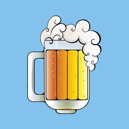 Jarra de cerveza con espuma en la parte superior. Ilustración de vector plano. Aislado sobre fondo azul.
