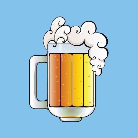 Beer mug with foam on top. Flat vector illustration. Isolated on blue background.