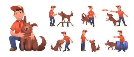 Happy smiling boy training his funny dog. Boy and dog playing together. Set of flat cartoon characters. Colored flat vector illustration. Isolated on white background.