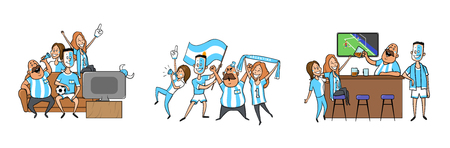 Argentinian national football team supporters cheering at home, in the bar together. Set of football fans with national attributes. Colored flat vector illustration. Isolated on white background.