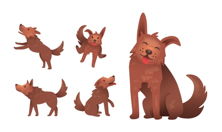 Funny smiling shaggy dog character playing. Set of gestures and postures. Flat vector illustration. Isolated on white background.