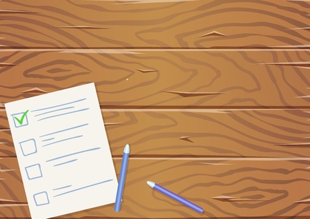 Wooden table with paper list and pencils, top view. Copyspace. Flat vector illustration. Horizontal.