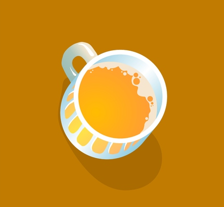 Beer mug top view. Flat vector illustration. Isolated on brown background.