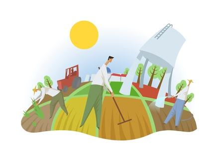People working in the field, fisheye view. Farming, ecotourism, kibbutz. Colorful flat vector illustration. Isolated on white background.