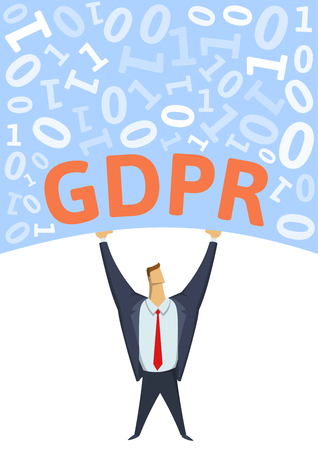 GDPR, General Data Protection Regulation. Strong man holding bulk of digital data above his head on white background. Flat vector illustration. Vertical.