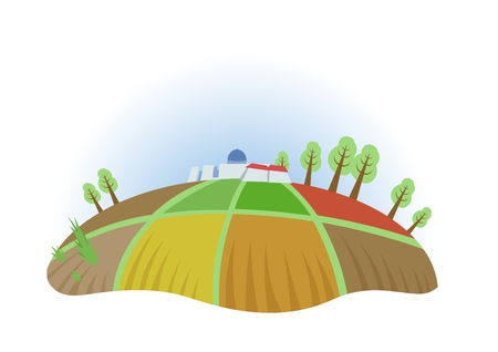 Farm field with trees and houses, fisheye view. Farming, ecotourism, kibbutz. Colorful flat vector illustration. Isolated on white background.