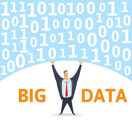 Digital environment. Strong man holding bulk of big digital data above his head on white background. Flat vector illustration.