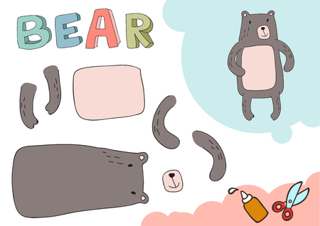 Funny Bear Paper Model. Small home craft project, DIY paper game. Cut out and glue. Cutouts for children. Vector template.