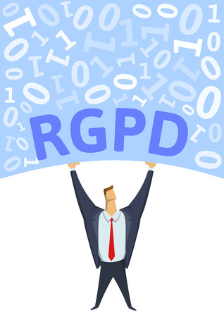 GDPR, General Data Protection Regulation. Strong man holding bulk of digital data above his head on white background. Flat vector illustration. Vertical.