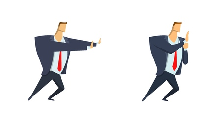 Businessman in suit moving or pushing something. Copyspace. Set of two characters. Flat vector illustration. Isolated on white background. Illustration