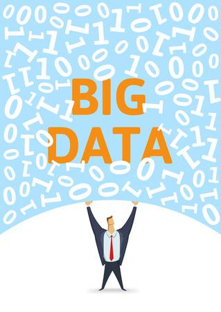 Digital environment, Big Data. Strong man holding bulk of big digital data above his head on white background. Flat vector illustration. Vertical.
