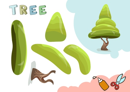 Green Tree Paper Model. Small home craft project, paper game. Cut out and glue. Cutouts for children. Vector template.