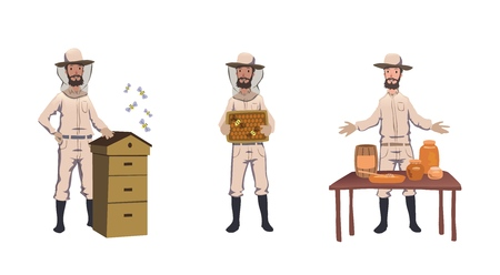 Apiculture and beekeeping. Beekeeper, hiver harvesting honey, dealing with bee-house, selling home-made honey. Set of characters. Colorful flat vector illustration. Isolated on white background.
