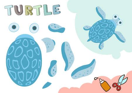 Lustiges Schildkrötenpapiermodell. Kleines Heimwerkerprojekt, Applikationspapierspiel. Ausschneiden und kleben. Ausschnitte für Kinder. Vektorschablone. Vektorgrafik
